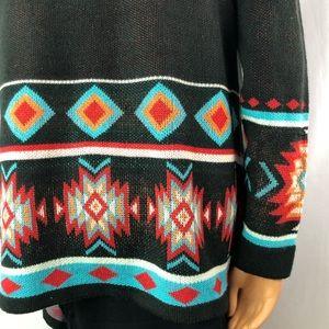 Charlie Page boho southwestern knit cardigan Sz SM
